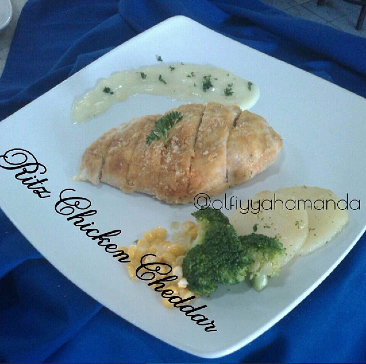 Ritz Chicken Cheddar W/Cream Mushroom Sauce By @Alfiyyahamanda